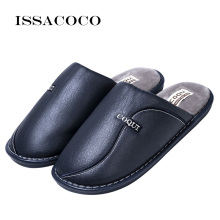 ISSACOCO New Mens Winter Slippers Non Slip Indoor For Men Leather Waterproof Warm Home Slipper Man Shoes