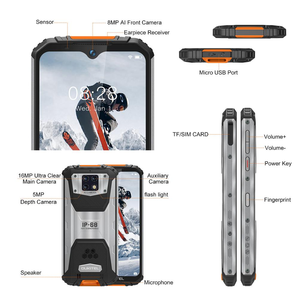 OUKITEL WP6 10000mAh 6.3'' FHD+ IP68 Waterproof Mobile Phone 4GB 128GB Octa Core 16MP Triple Cameras Rugged Smartphone