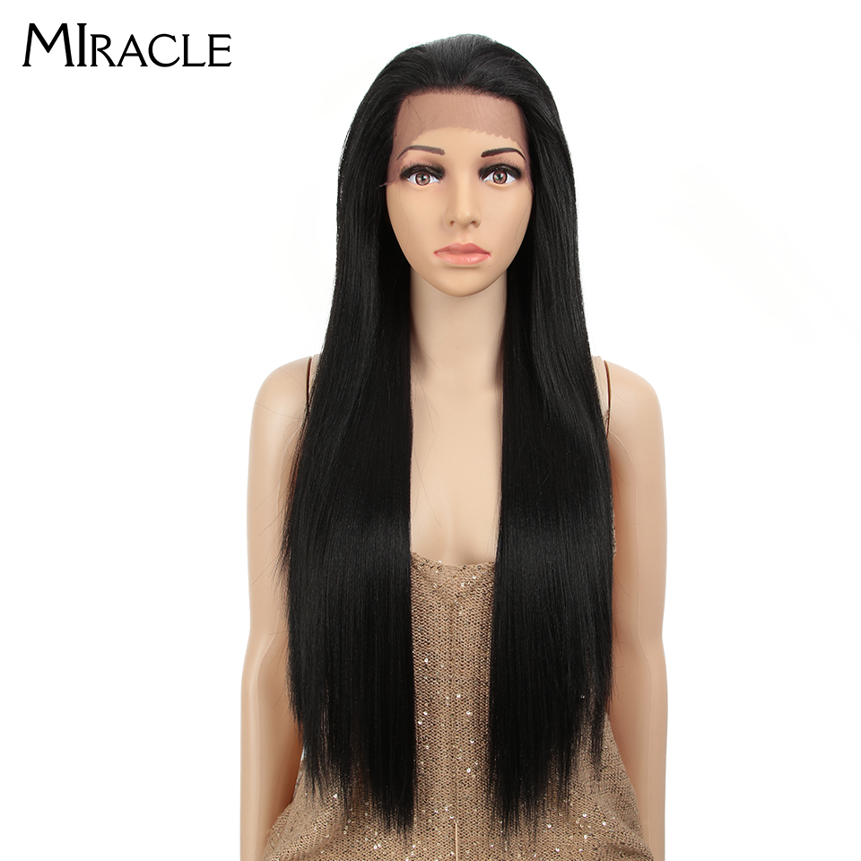 MIRACLE Black Ombre Color Long Straight Hair Lace Front Wig 13*4 Heat Resistant Synthetic Lace Front Wig For Black Women
