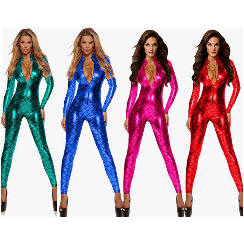 Hot Faux Snakeskin Latex Catsuit Sexy Women Leather Erotic   Jumpsuit   Bodysuit Clubwear Party Mermaid Pole Dance Costume