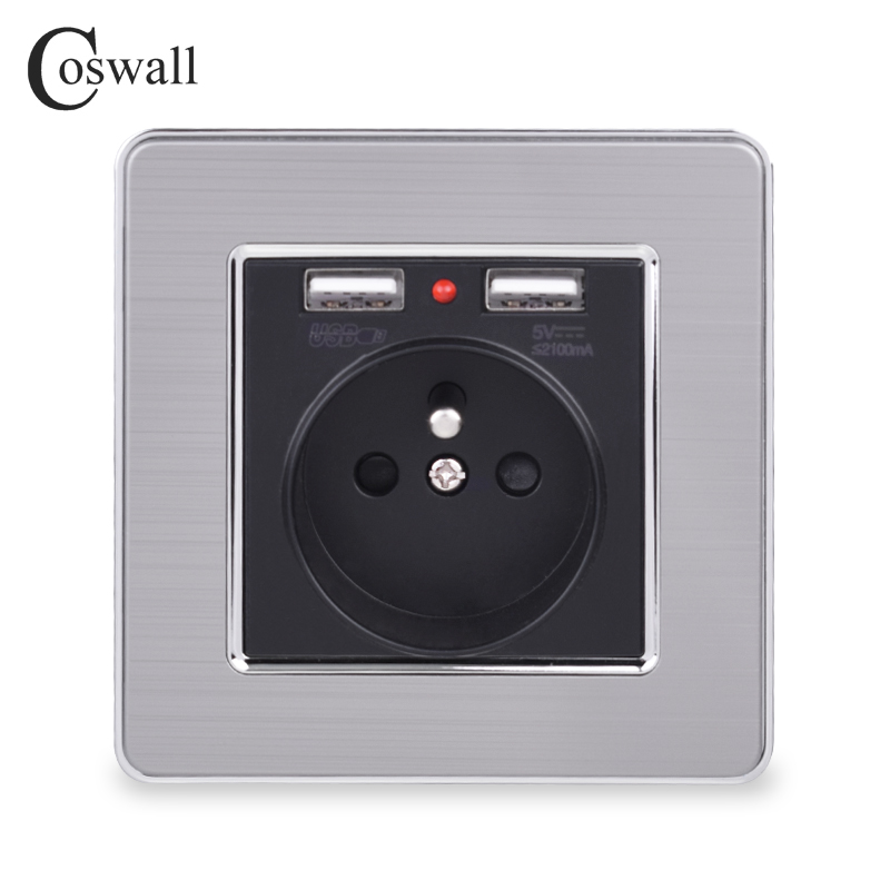 Coswall Black Dual USB Charging Port 5V 2.1A Wall Charger Adapter LED Indicator 16A French Power Socket Stainless Steel Panel