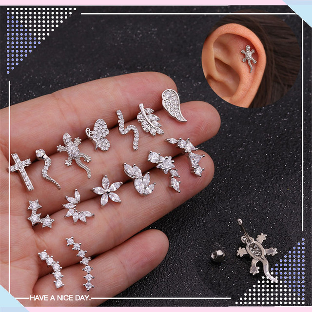 TTLIFE Various Stainless Steel Cartilage Piercing Helix Jewelry Cz Leaf Snake Ear Stud Tragus Cartilage Conch.jpg 640x640 - TTLIFE Various Stainless Steel Cartilage Piercing Helix Jewelry Cz Leaf Snake Ear Stud Tragus Cartilage Conch Earring Stud 20G