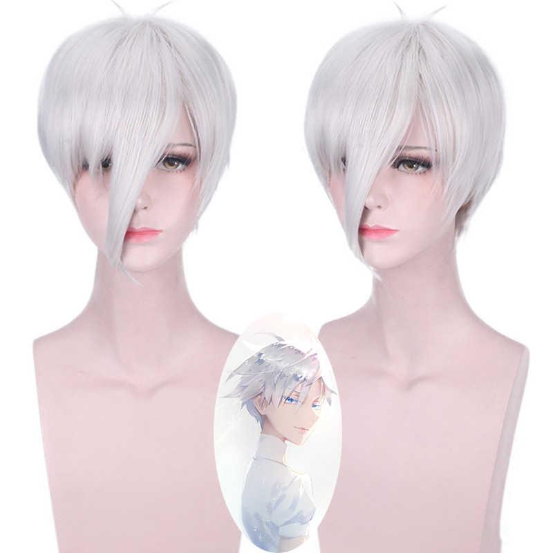 Anime Houseki No Kuni Antarcticite Cosplay Parrucca Argento Bianco Capelli Corti Costume Adulto Parrucche + Antarcticite Terra del Brillante