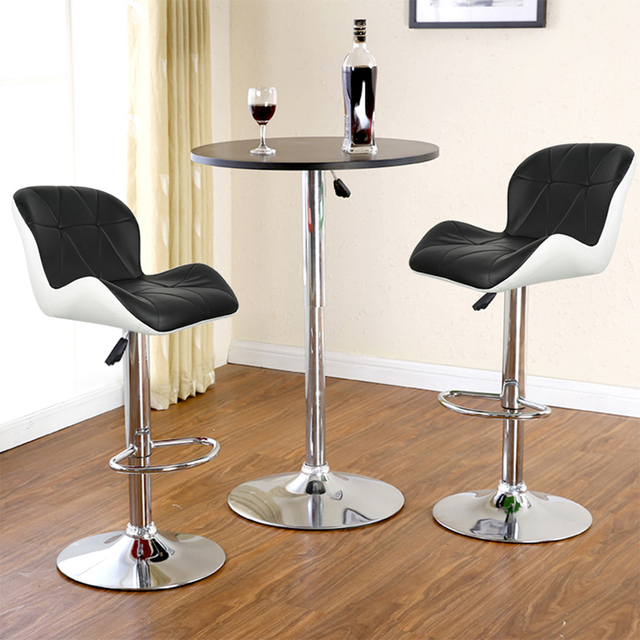 Set of 2 Modern Bar Chairs Dining Room Chairs Adjustable Swivel Bar Stools Kitchen Counter Dining Chairs for Home Office Salon 3