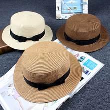 Straw-Cap Panama-Hat Girls Women Summer Brim Female Parent-Child Flat Lady Casual Bowknot