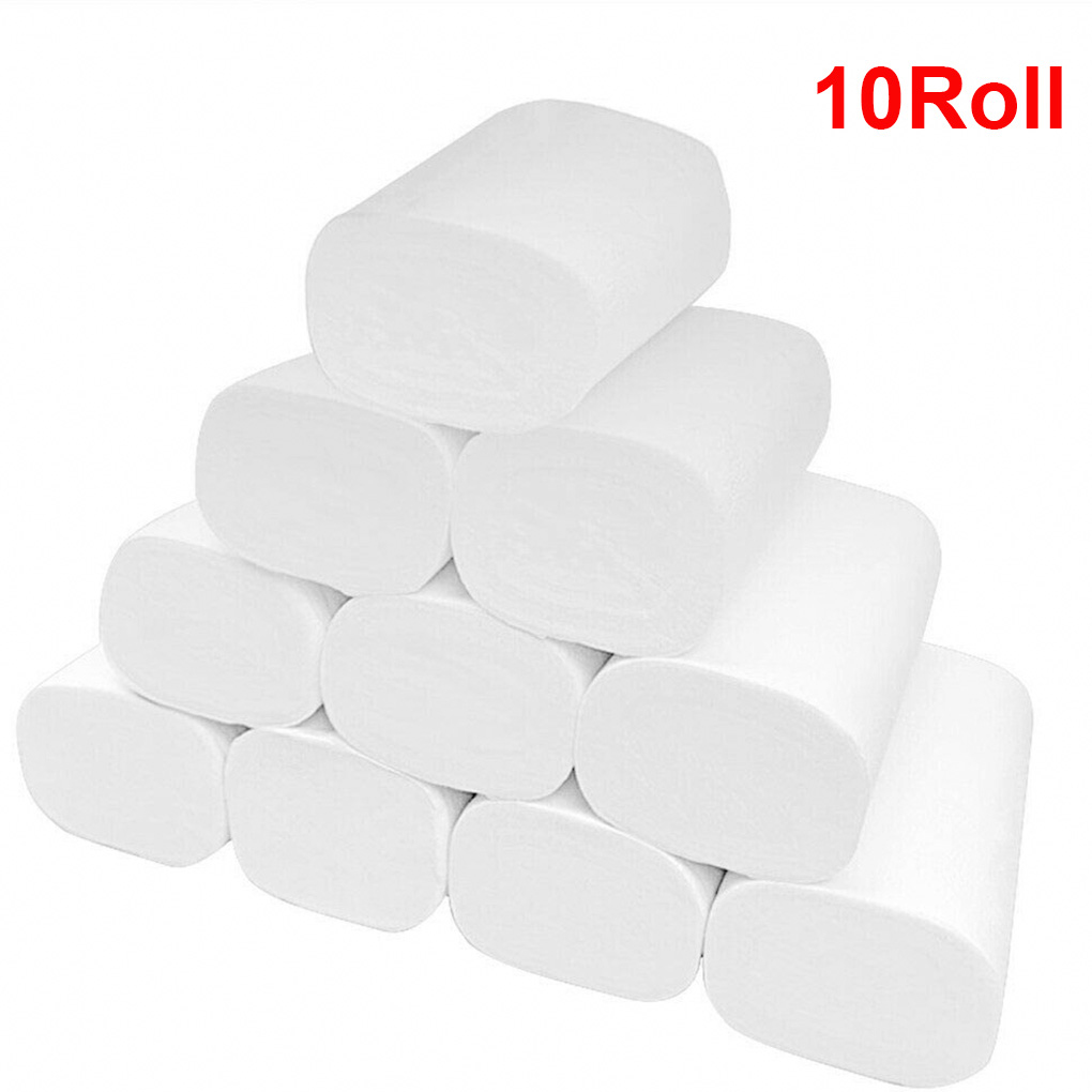 10 Rolls Toilet Tissue Three Layer Toilet Paper Roll Home Hotel Restaurant Bathroom Washroom Soft Tissue Roll Wood Pulp Paper