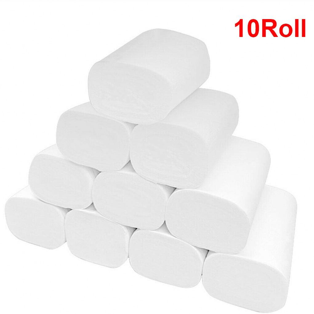 10 Rolls Toilet Tissue Three Layer Toilet Paper Roll Home Hotel Restaurant Bathroom Washroom Soft Tissue Roll Wood Pulp Paper