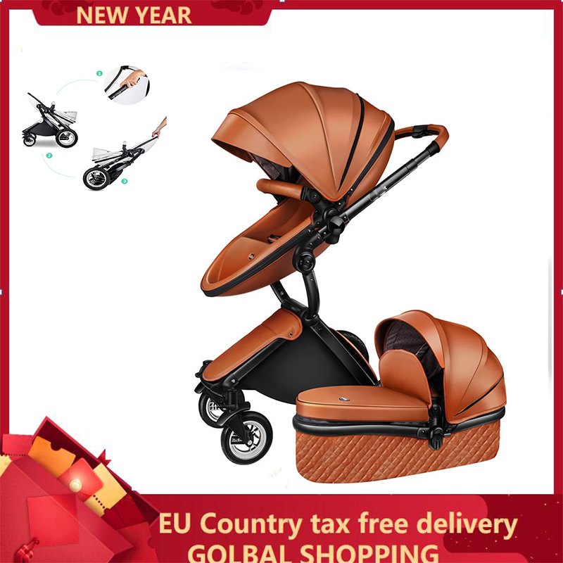 Luxury 2 in 1 Baby stroller Brand baby PU Leather Pram EU safety Car Seat Bassinet newborn Aulongift EU Shipping By UPS Tax Free|Lightweight Stroller|   - title=