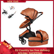 Luxury 2 in 1 Baby stroller Brand baby PU Leather P
