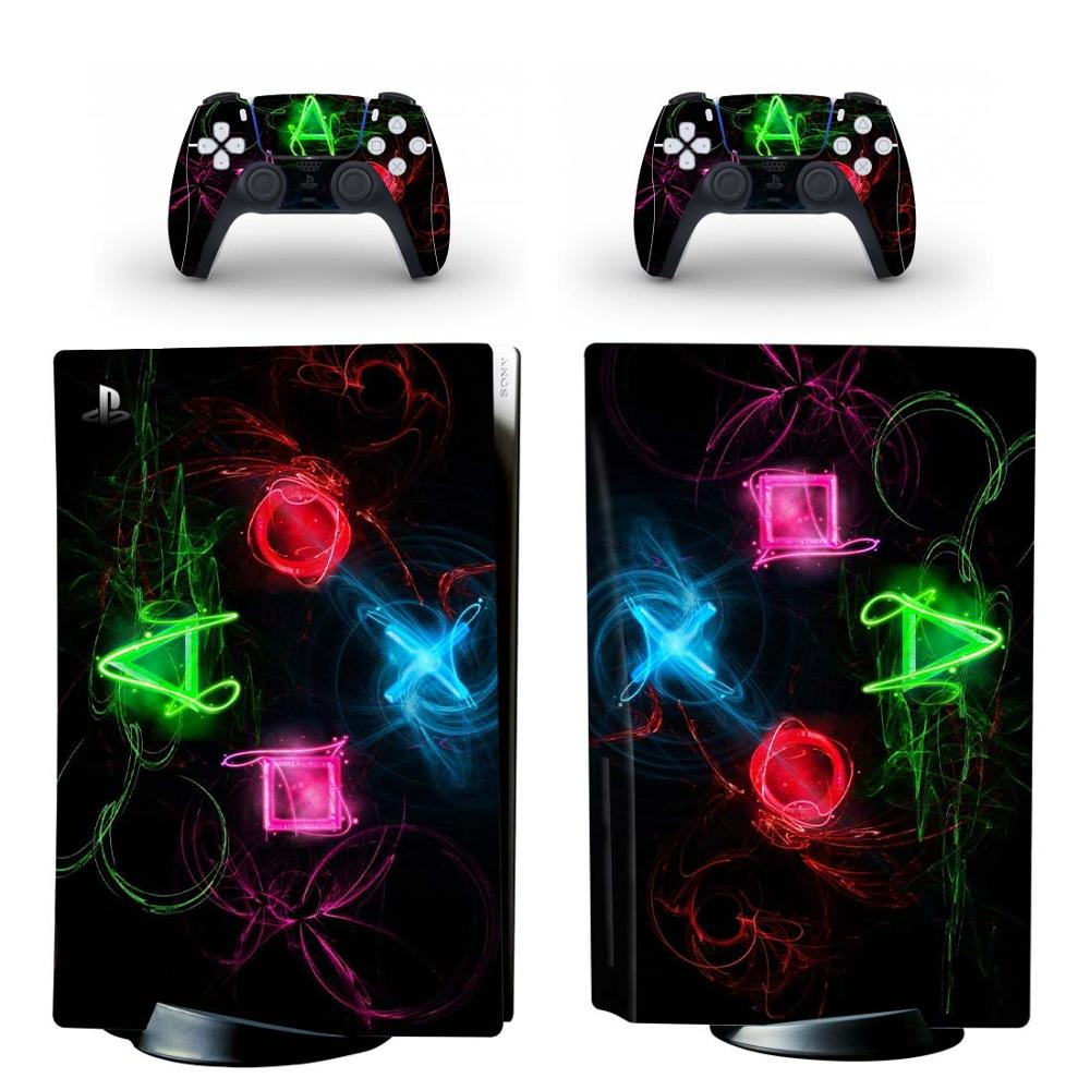 Symbol PS5 Disc Edition Skin Sticker for Playstation 5 Console & 2 Controllers Decal Vinyl Protective Skins Style 6