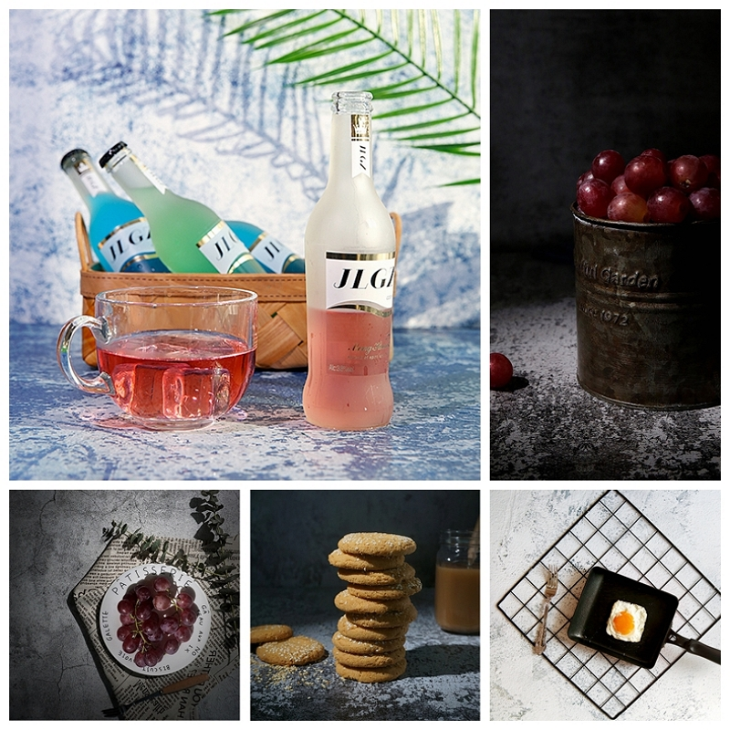 Photography Background Paper Double-Sided Cement Texture Backdrop Studio Photo Accessories for Food Drink Cosmetic Toy Shooting