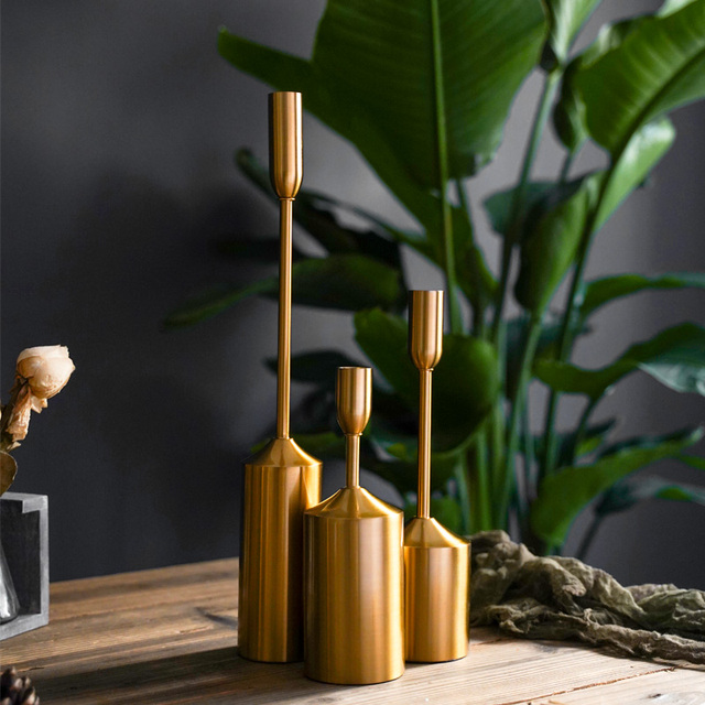 Simple moments Metal Gold Plated Candle Holders High Quality Pillar Wedding Decoration Candlestick Home Decoration Candlestick 2