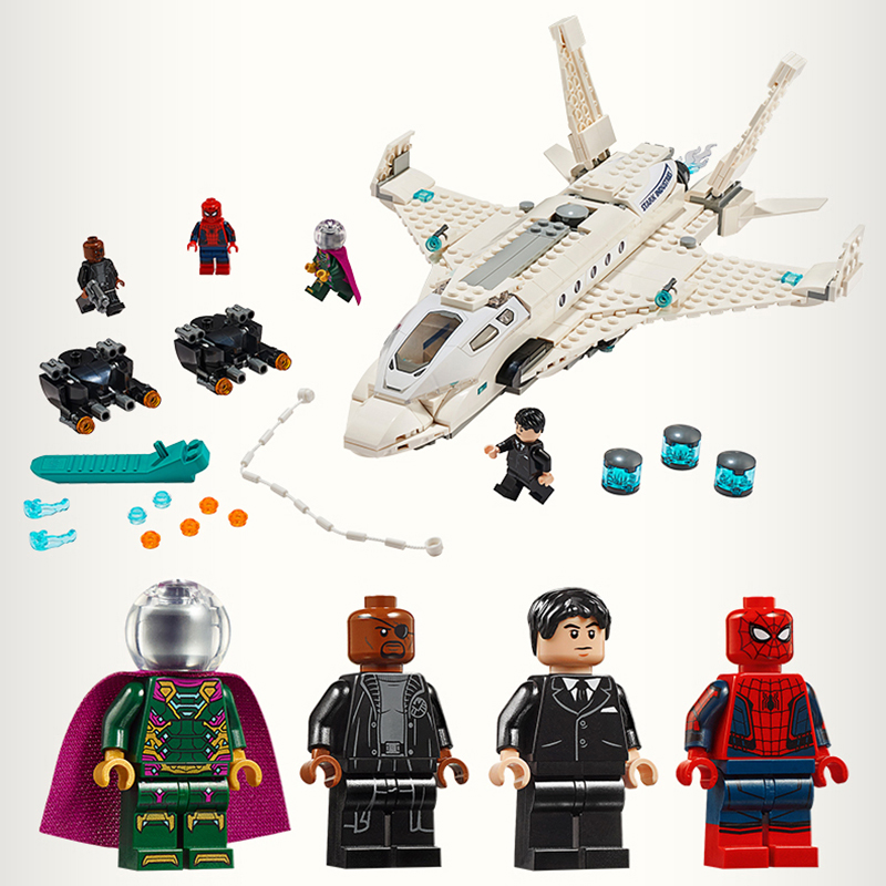 2019 New Stark Jet Drone Attack Spider-hero Far From Home Man Avengers Movie Compatible LegoingLYs 76130 Building Blocks Bricks