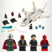 2019 nowy Stark Jet Drone atak Spider-hero daleko od domu człowiek Avengers Movie kompatybilny legoingLYs 76130 klocki klocki