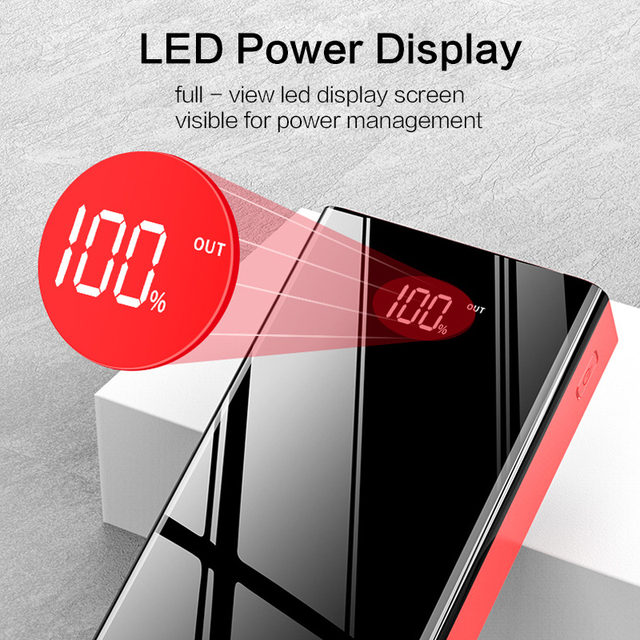 Newest 40000mAh 4 USB Power Bank Portable Fast Charging PowerBank For Xiaomi Mi Mirror Screen PoverBank External Battery Charger 4