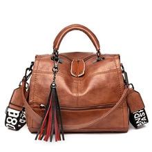 Sacs à main en cuir souple Vintage pour femmes, sacs de luxe à pompon, sacs de styliste, fourre tout à épaule décontracté