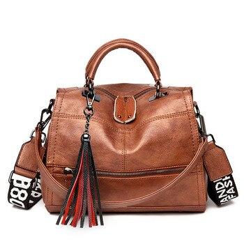 Vintage borla de cuero suave de lujo Bolsos De Mujer bolsos de diseñador de señoras Casual bolso de mano hombro crossbody bolsas para mujeres Sac