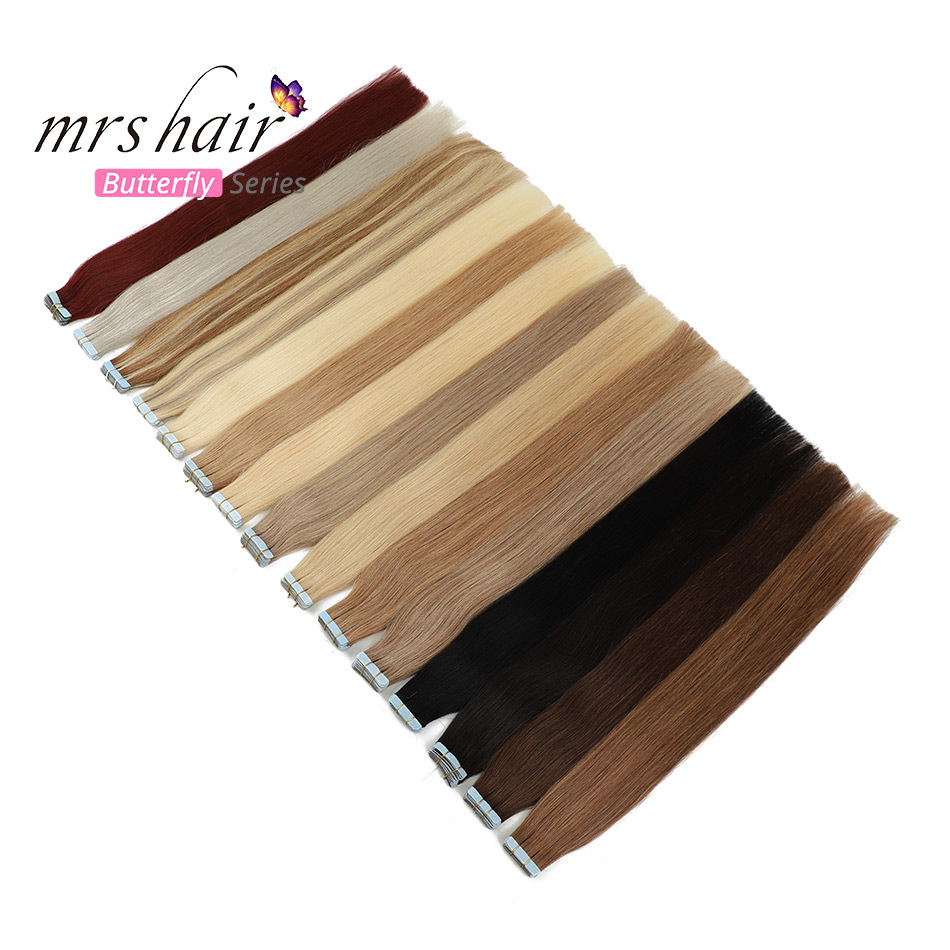 MRSHAIR Skin Weft Human Hair Straight Tape In Extension Machine Remy Hair Double Sided Tape Hair 12