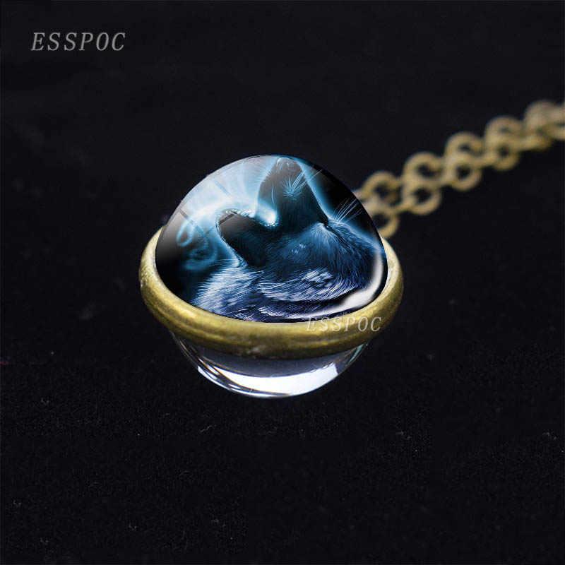 Vintage lobo padrão jóias uivando lobo vidro duplo lado bola bronze corrente pingente colar para presentes