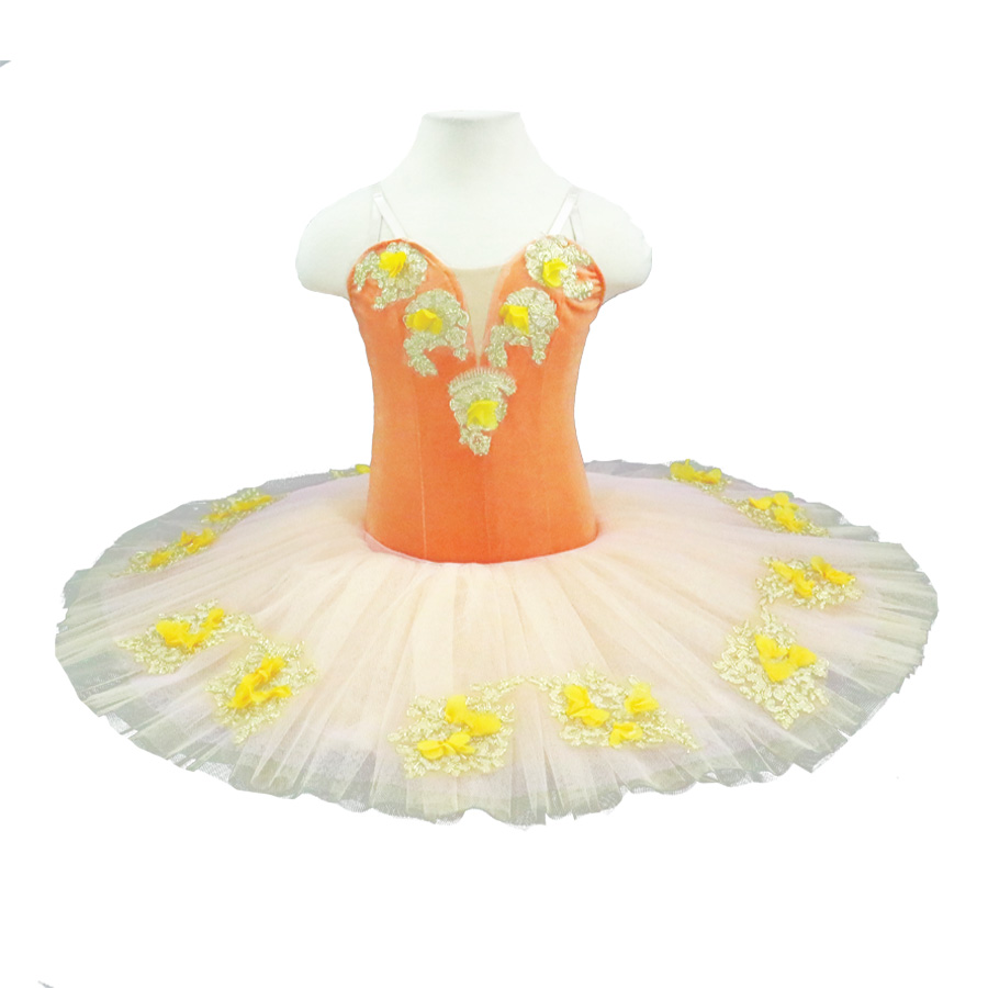 Classical Ballet Tutu Peach Fairy Girls Platter Tutus Orange Professional Tutu Adult Performance Pancake Ballet Tutu Costume