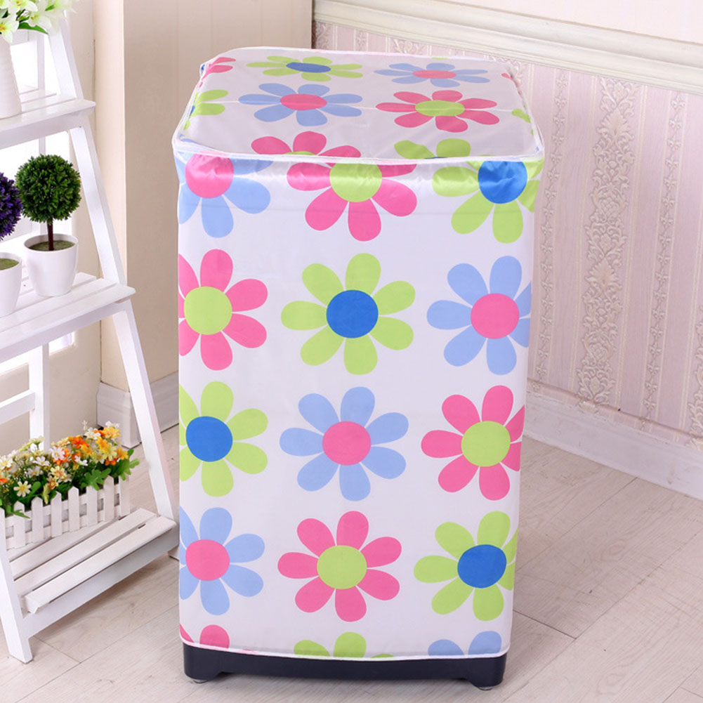 Washing Machine Cover Protective Case Easy To Clean Bathroom Home Floral Printed Dust Proof Accessory Cute Zipper Front Loading image