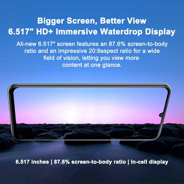 Blackview A70 3GB+32GB 5380mAh Android 11.0 Octa Core Smartphone 6.51'' HD+ 13MP Rear Camera Face ID Fingerprint 4G Mobile Phone 5
