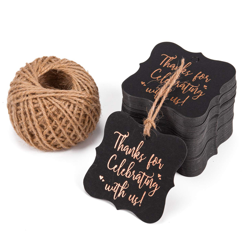 100pcs Black And Gold Foil Gift Tags Thank You For Celebrating With Us Tags With String Wedding Decoration Packaging Hang Tags