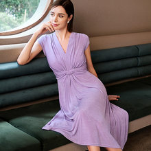 Summer Women Dress 2021 Solid V_Neck Elegant Folds Short Sleeves