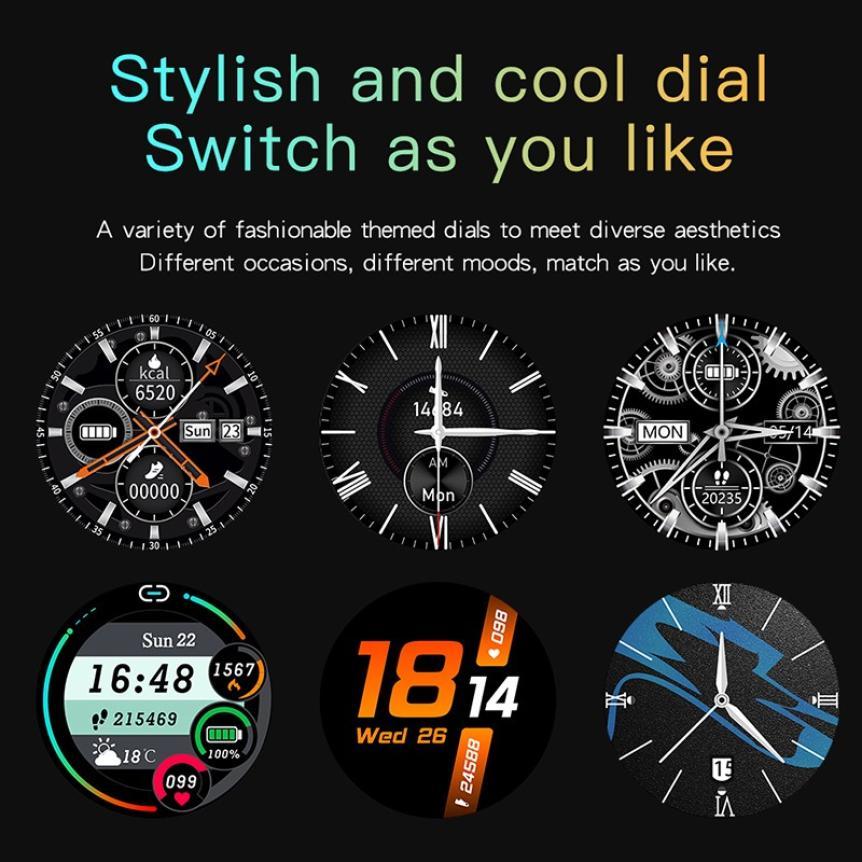 CAH20072902O_CK29 Round Thin 1.28 Screen Smart Watch Bluetooth Touch Waterproof IP67 Smart Band Call Temperature Multi-dials Smart Bracelet (5)