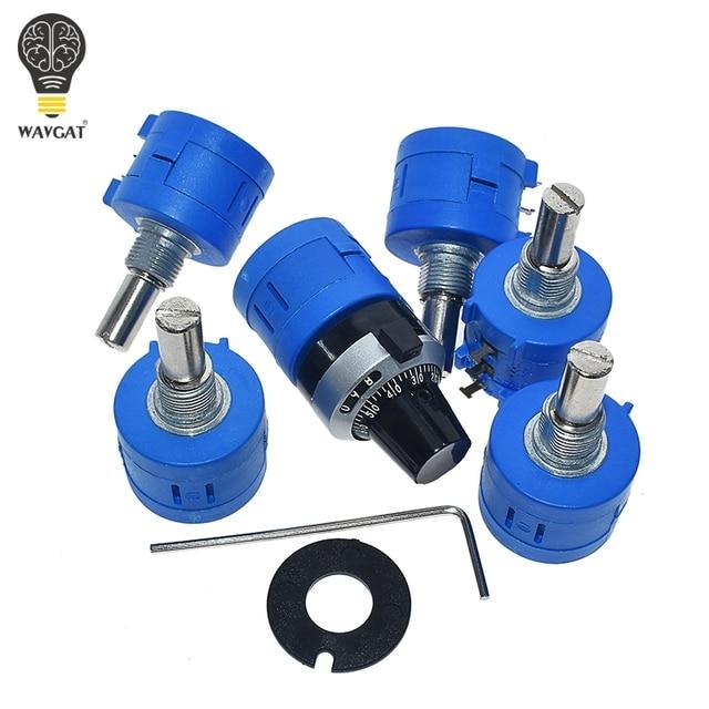 WAVGAT 3590S Multiturn Potentiometer 500 1K 2K 5K 10K 20K 50K 100K ohm Potentiometer Adjustable Resistor 3590 102 202 502 103 4