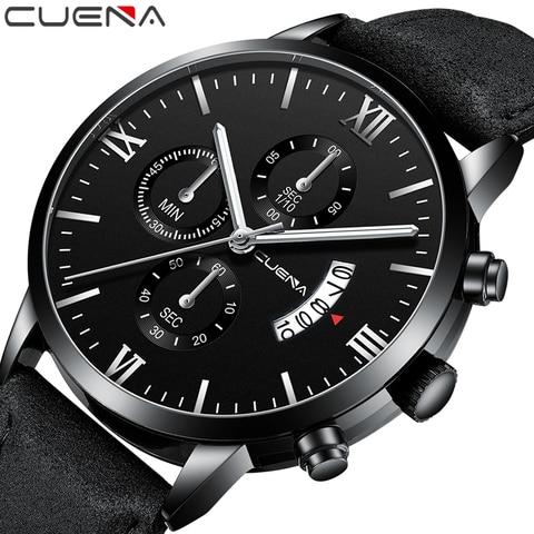 CUENA Watch Men Fashion Quartz Army Military Clock Men Watches Top Brand Luxury Leather Waterproof Sport Watch Relogio Masculino Pakistan
