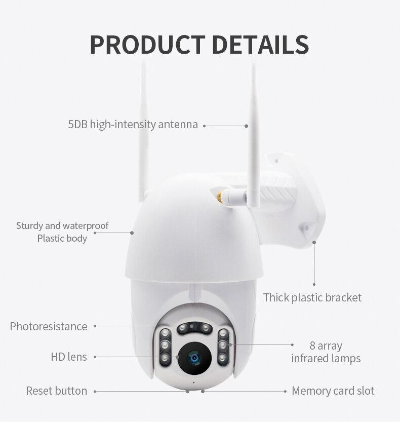 H1a90c269b02645a68c6b4b9e66b1e141A Q1 Outdoor PTZ Wireless IP Camera Move Detection Infrared Night Vision Waterproof Surveillance RJ45/Wifi Dome CCTV Camera