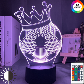 3d Illusion Kids Night Light Football Crown 7 Colors Changing Nightlight for Child Bedroom Atmosphere Soccer Room Desk Lamp Gift image
