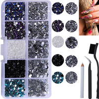 Neue Set 10 Grids 7500Pcs Mischfarbe Kristall Nail art Strass Harz Nagel Steine Perlen Nieten Flache Rückseite Nagel kunst Dekorationen