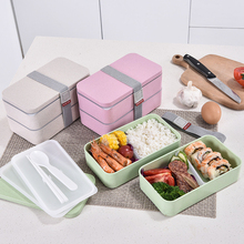 1200ml Microwave Food Storage Container Lunchbox Wheat Straw Double Layers Lunch Box With Spoon Healthy Material Bento Boxes