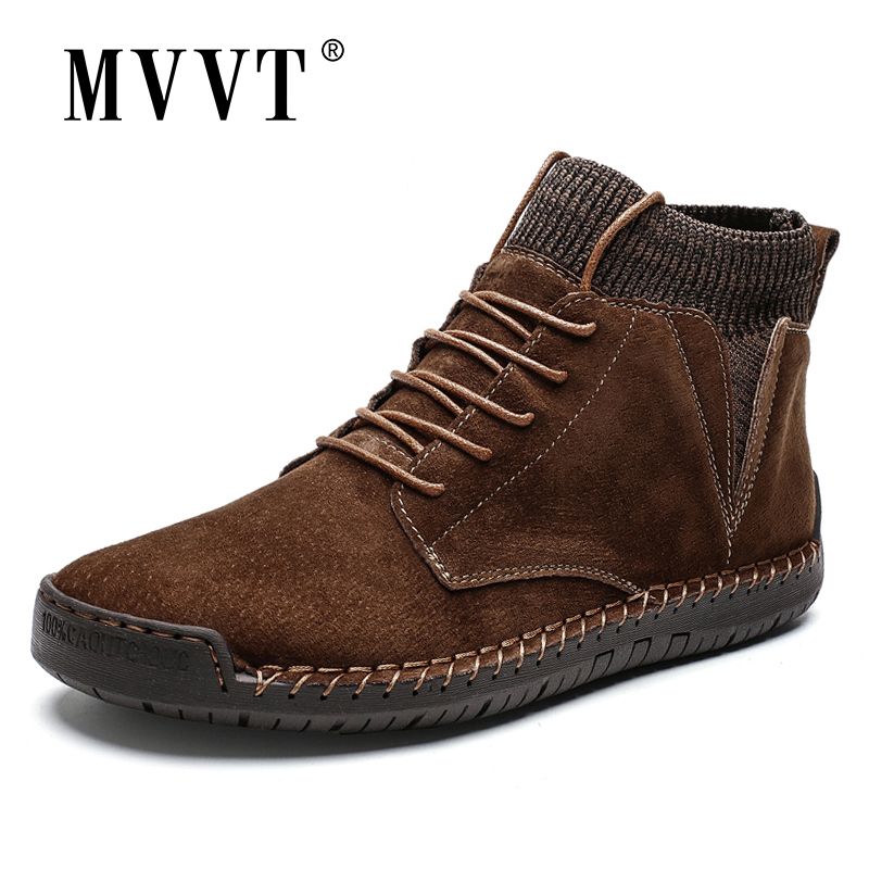 Plus Size Men Winter Boots Suede Leather Boots Men Snow Boots Waterproof Winter Shoes Leather Men Ankle Boots Fur Men Shoes