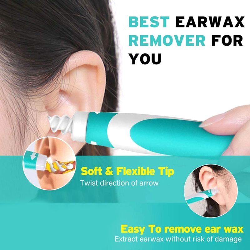 New Ear Cleaner Earpick Ears Wax Remover Spiral Earwax with 16 Replacement Tips Care Tools