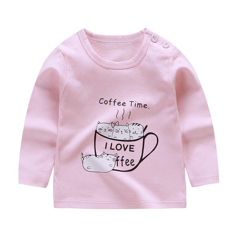 От 6 месяцев до 5 лет унисекс; сезон осень-зима; хлопковая футболка с длинными рукавами и героями мультфильмов; футболки для маленьких мальчиков и девочек; детская повседневная одежда; одежда с круглым вырезом - Цвет: Q47