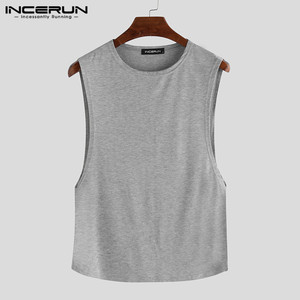 Image 5 - INCERUN Summer Fashion Men Pajamas Sets Sleeveless O Neck Tank Tops Shorts Solid 2020 Homewear Casual Sexy Sleepwear Sets S 5XL
