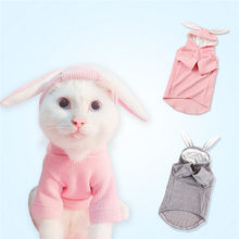 Pet Cat Rabbit Hoodie with Cute Bunny Ears Hood Dog Transform Clothes Cotton Warm Sweater Coat Jacket for Small Cat Dog @D(China)