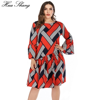 5XL Plus Size Casual Dress Women Long Sleeve Plaid Striped Print Patchwork Midi Dress Red Ladies Tunic Ruffles Beach Dresses 3