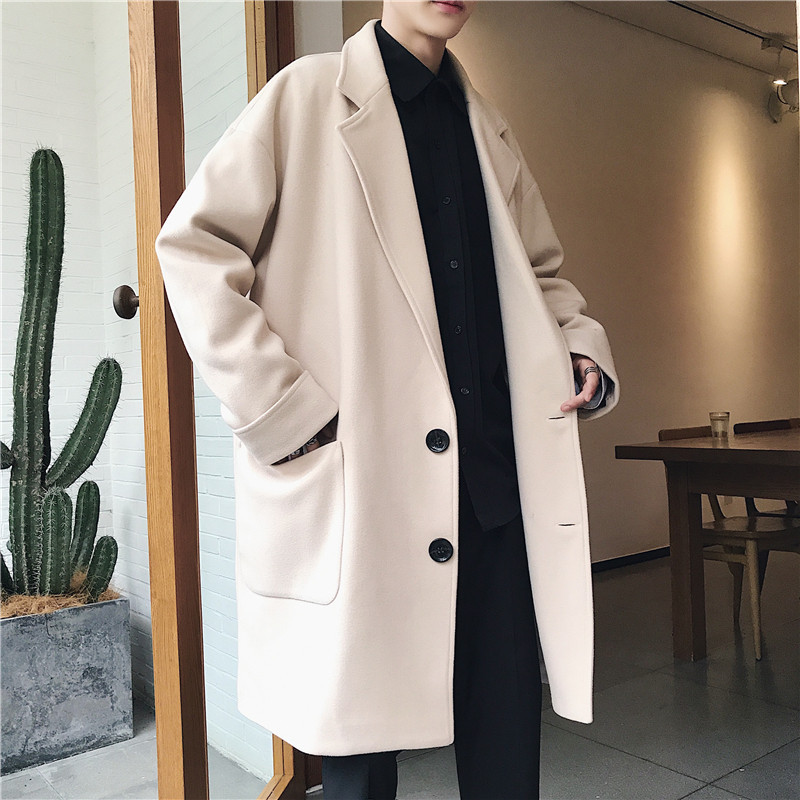 Winter Woolen Trench Coat Men Fashion Solid Korean Couple Joker Windbreaker Coat Oversize Casual Long Jacket For Men Vintage New