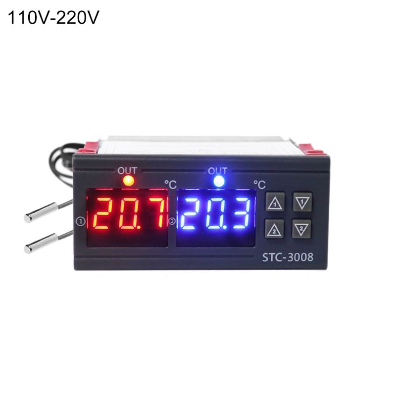 Digital Temperature Controller Double Thermostat Heating Cooling 10A AC110V 220V