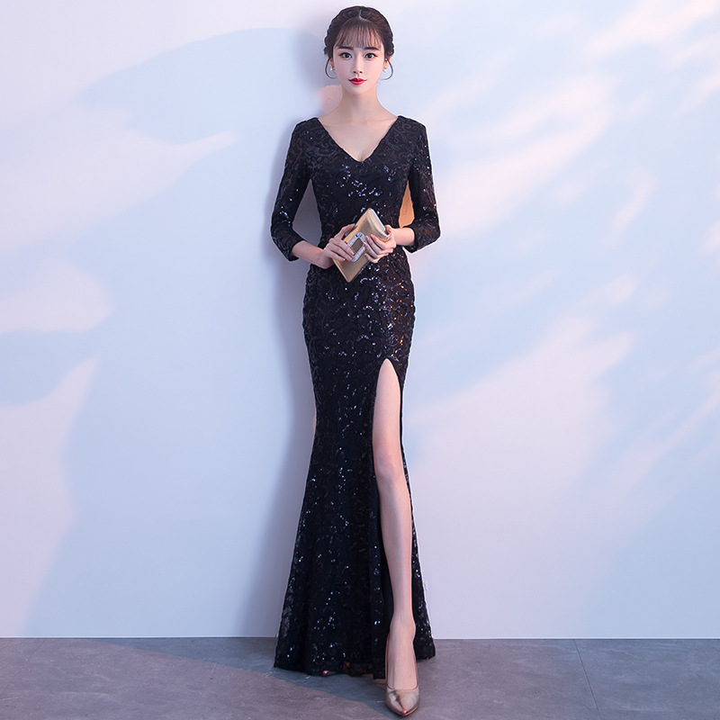 2020 Real Gengli Evening Dress 2020 New Banquet Noble Elegant Sexy Fishtail Show Thin Skirt Women Autumn Dignified Atmosphere