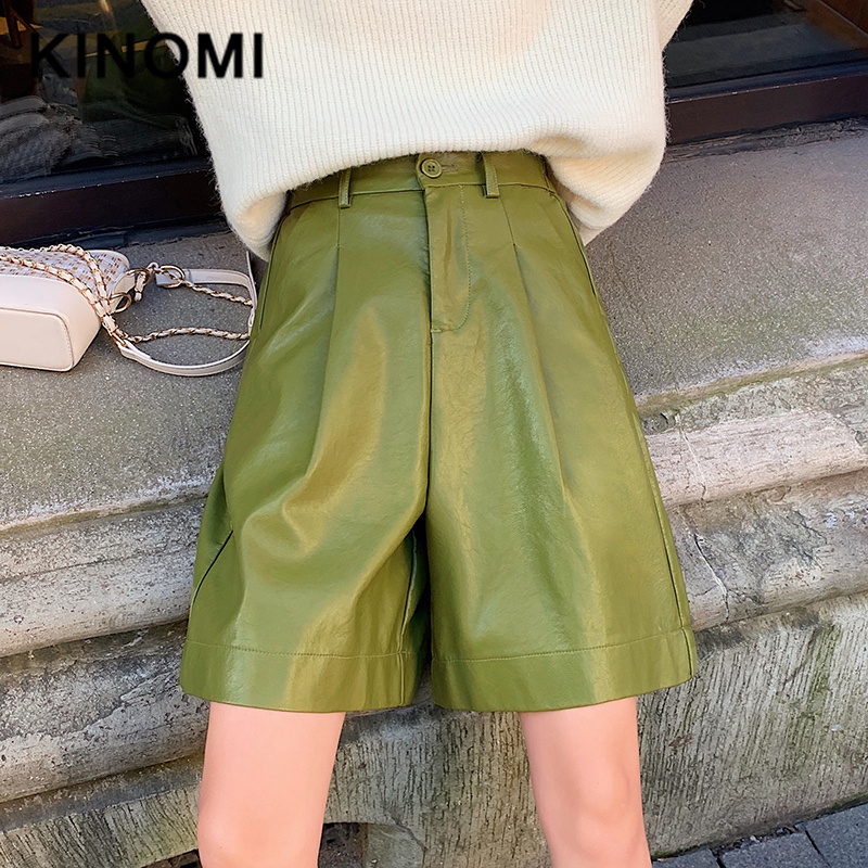 KINOMI Autumn Winter PU Leather Street Half Pants High Waist Green Chic Wide Leg Pants Vintage Trousers Pocket 2019 New Arrival