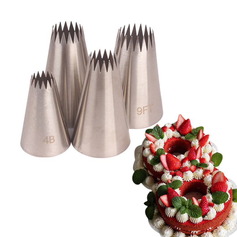 4pcs Pastry Nozzles Sets Stainless Steel Icing Cream Nozzles Cupcake Cake Decorating Tools Cookies Pastry Baking Tools