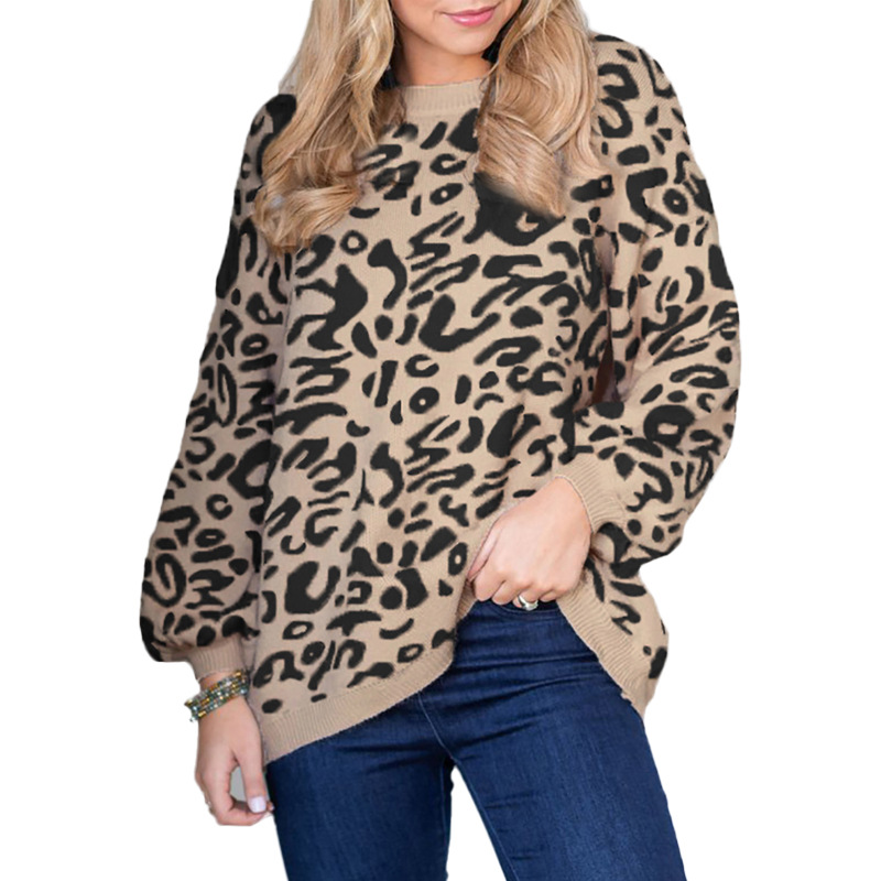 Sweater Leopard Loose Ladies Pullover Autumn And W...