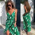 Женское пляжное платье макси без рукавов, вечерние платья в стиле бохо с цветочным принтом и принтом листьев