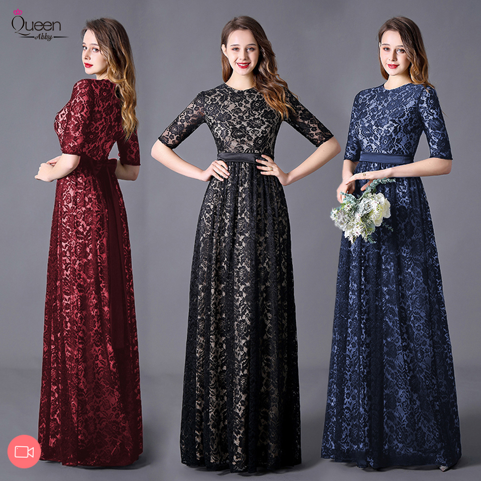 Elegant Evening Dresses A-line Half Sleeves O-neck Appliqued Lace Floor-length Dress Party Gown Vestidos De Fiesta De Noche