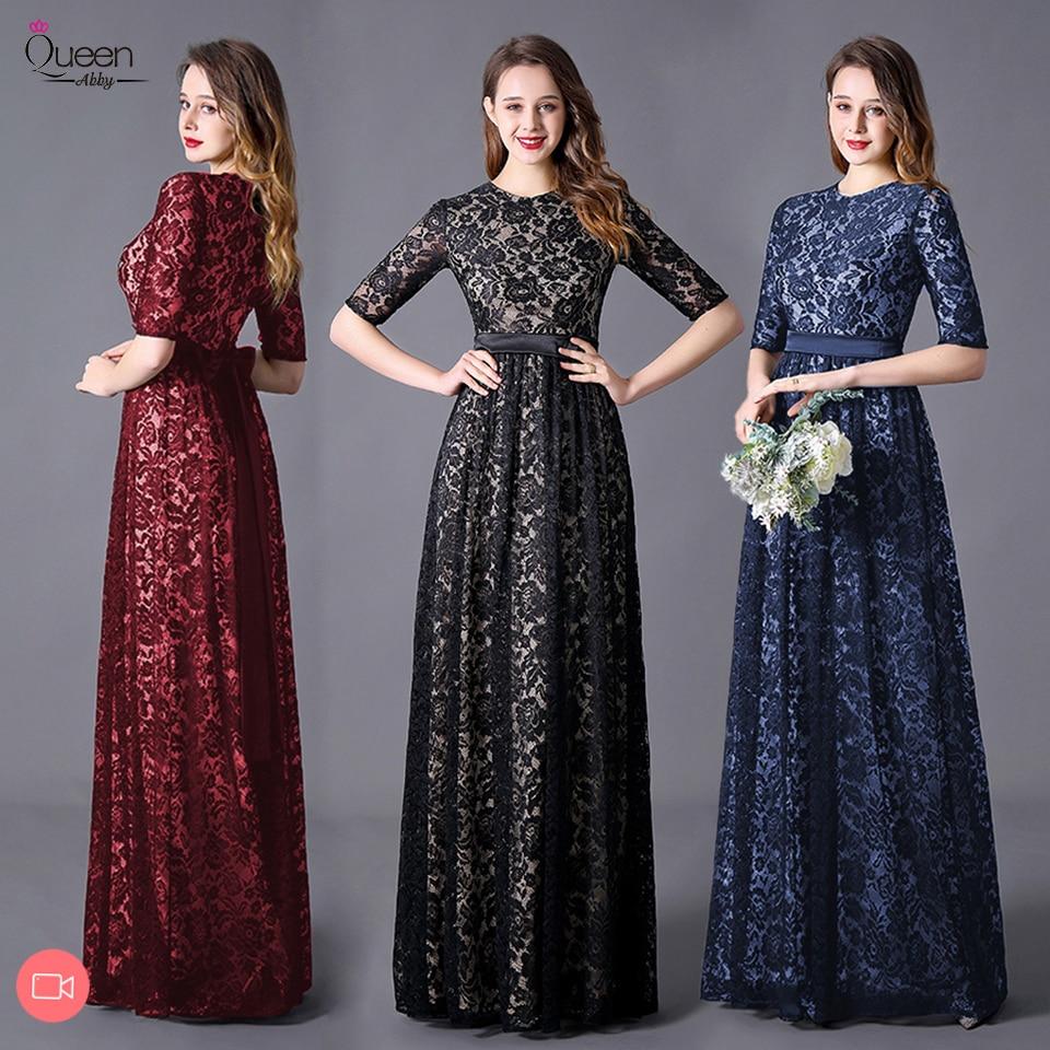 Elegant Evening Dresses A-line Half Sleeves O-neck Appliqued Lace Floor-length Dress Party Gown Vestidos De Fiesta De Noche